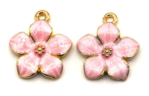 2pc 17x15mm Enameled Flower Charms, Pink/Gold