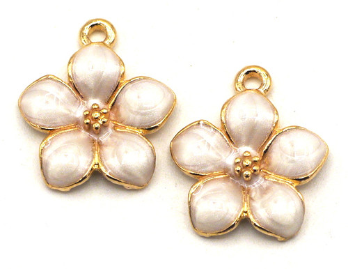 2pc 17x15mm Enameled Flower Charms, Ivory/Gold