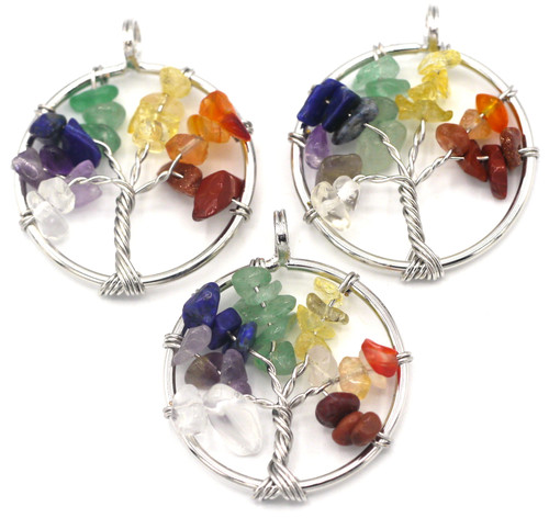 1pc Approx. 35x30mm Wire-Wrapped Tree of Life Pendant, Rainbow of Gemstones