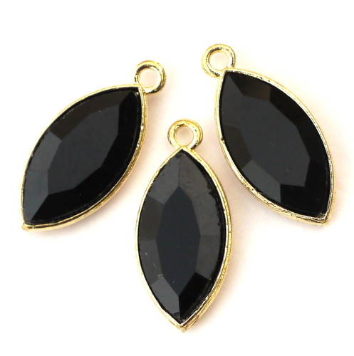 3pc 23mm Acrylic Black Rhinestone Marquis Pendants