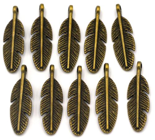 10pc 30x9mm Feather Drops, Antique Bronze