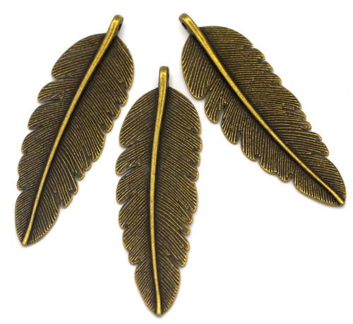 3pc 56x17mm Feather Pendants, Antique Bronze