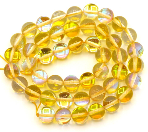 """Approx. 15"""" Strand 8mm Manmade Moonstone Glass Beads, Goldenrod"""