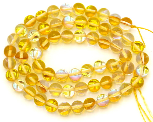 """Approx. 15"""" Strand 6mm Manmade Moonstone Glass Beads, Goldenrod"""