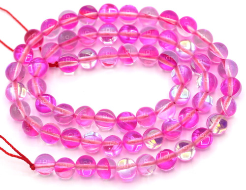 """Approx. 15"""" Strand 6mm Manmade Moonstone Glass Beads, Hot Pink"""