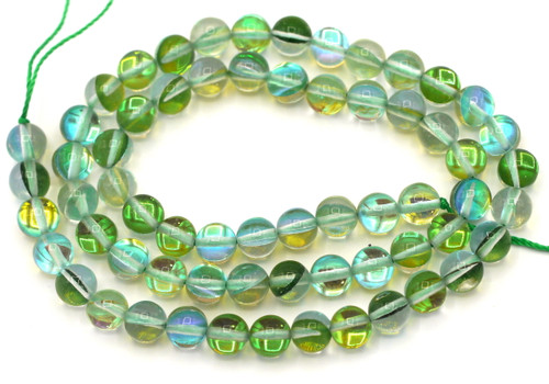 """Approx. 15"""" Strand 6mm Manmade Moonstone Glass Beads, Green Multi"""