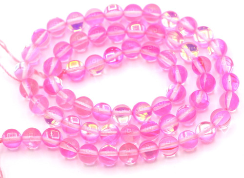 """Approx. 15"""" Strand 6mm Manmade Moonstone Glass Beads, Soft Pink"""