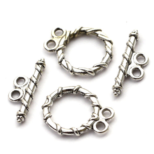 2 Sets 18x20mm Double-Strand Toggle Clasp, Antique Silvertone