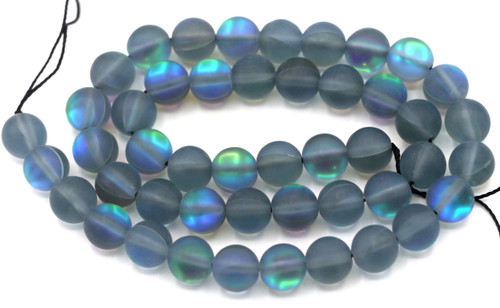 "Approx. 15"" Strand 8mm Manmade Moonstone Glass Beads, Matte Gray Mist"