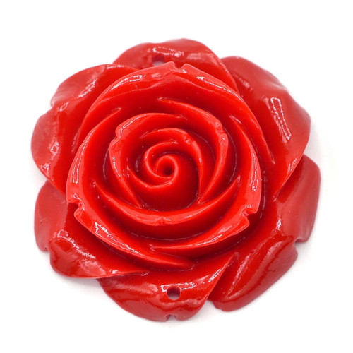 32mm Carved Synthetic Coral Rose 2-Hole Pendant Link