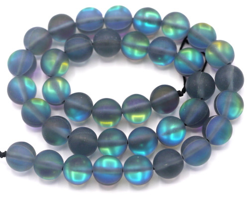 "Approx. 15"" Strand 10mm Manmade Moonstone Glass Beads, Matte Gray Mist"