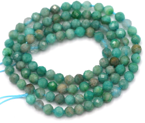 """14"""" Strand Approx. 3-3.5mm Russian Amazonite Faceted Round Beads"""