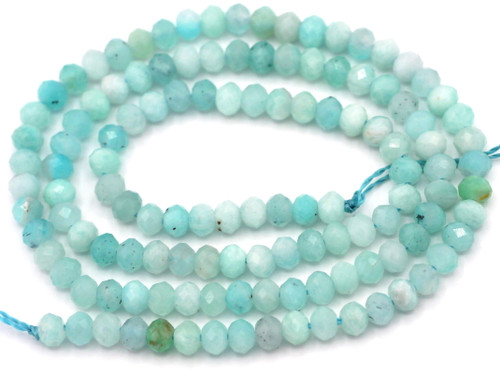 """14"""" Strand Approx. 4x3mm Amazonite Faceted Rondelle Beads"""