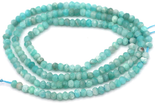 """14"""" Strand Approx. 3x2mm Amazonite Faceted Rondelle Beads"""