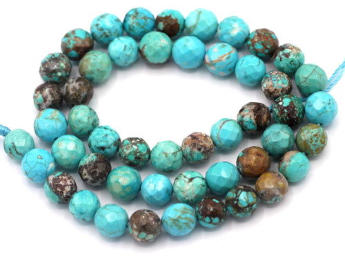 """15"""" Strand 8mm Turquoise Howlite Faceted Round Beads"""