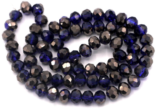 """Approx. 16"""" Strand 8x6mm Crystal Rondelle Beads, Sapphire/Bronze"""