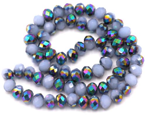 "Approx. 16"" Strand 8x6mm Crystal Rondelle Beads, Ice Blue/Metallic Rainbow Iris"