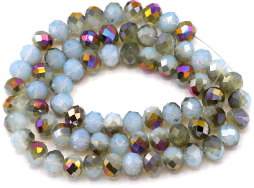 """Approx. 18"""" Strand 10x8mm Crystal Rondelle Beads, Pale Blue Opal/Light Bronze Peacock"""