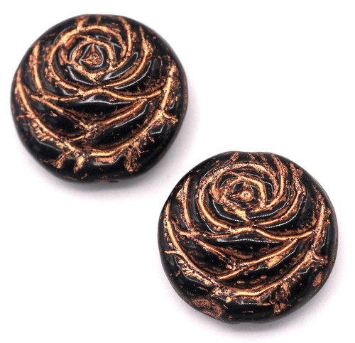 2pc 17mm Czech Pressed Glass Rose Coin Beads, Jet/Copper Wash