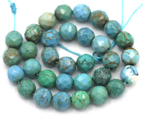 """Approx. 7.5"""" Strand 6mm Sinkiang Turquoise Faceted Round Bead"""