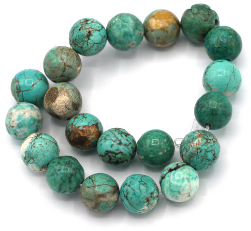 """Approx. 7"""" Strand 10mm Turquoise (Dyed) Magnesite Round Beads"""