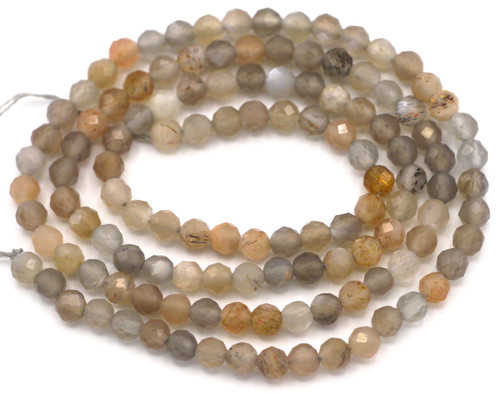 """14"""" Strand Approx. 3.5mm Faceted Multi Moonstone Round Beads"""