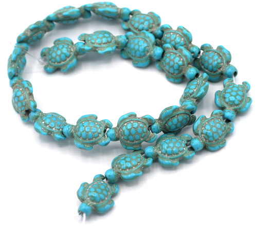 """15"""" Strand 18.5x15mm Synthetic Turquoise Turtle Beads"""