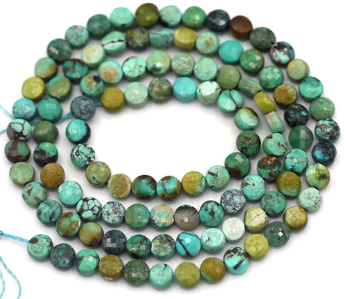 """15"""" Strand Approx. 4mm Hubei Turquoise Faceted Coin Beads"""