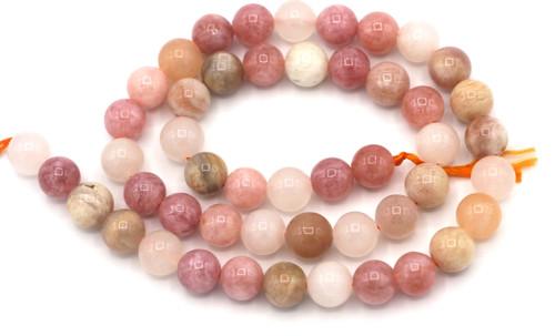 "Approx. 15"" Strand 8mm Multi-Pink Gemstone Round Beads-- Sunstone, Moonstone, & Pink Quartz Mix"