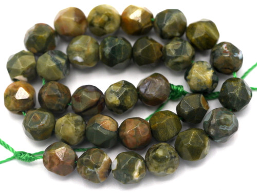 "Approx. 7.5"" Strand 6mm English-Cut Rhyolite Beads"