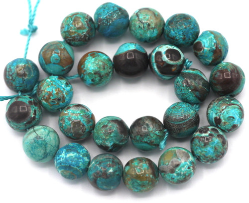 """Approx. 7.5"""" Strand 8mm Turquoise Ocean Jasper (Dyed) Round Beads"""