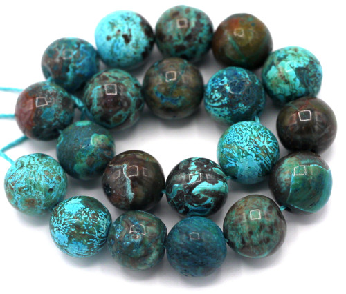 """Approx. 7.5"""" Strand 10mm Turquoise Ocean Jasper (Dyed) Round Beads"""