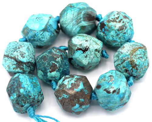 """Approx. 8"""" Strand 15-18mm Turquoise Ocean Jasper (Dyed) Faceted English-Cut Beads"""