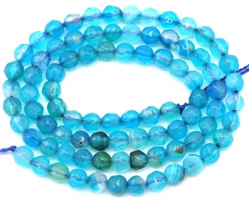 """Approx. 14"""" Strand 4mm Faceted Agate Round Beads, Capri Blue"""