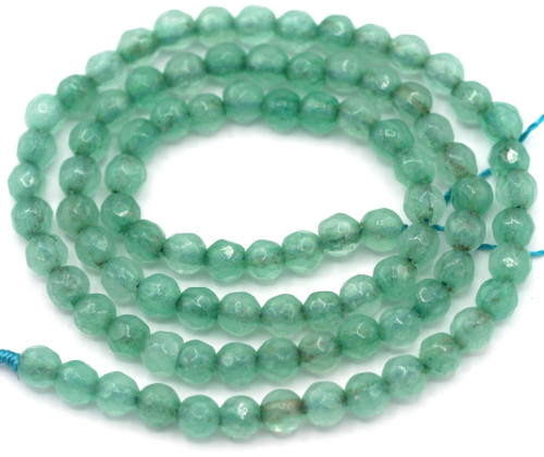 """Approx. 14"""" Strand 4mm Faceted Agate Round Beads,Jade Green"""