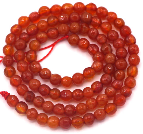 """Approx. 14"""" Strand 4mm Faceted Agate Round Beads, Blood Orange"""