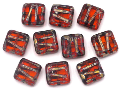 10pc 10mm Czech Table-Cut Glass Patterned Square Beads,  Hyacinth/Picasso
