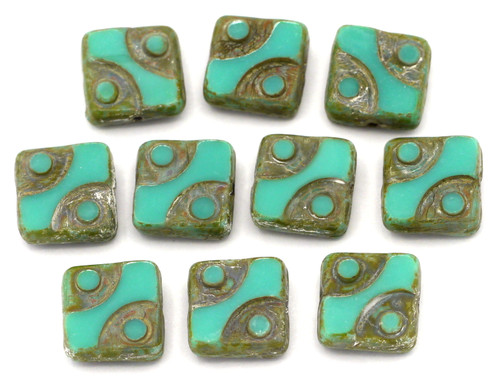 10pc 10mm Czech Table-Cut Glass Patterned Square Beads,  Turquoise Picasso