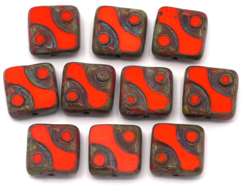 10pc 10mm Czech Table-Cut Glass Patterned Square Beads,  Scarlet Picasso