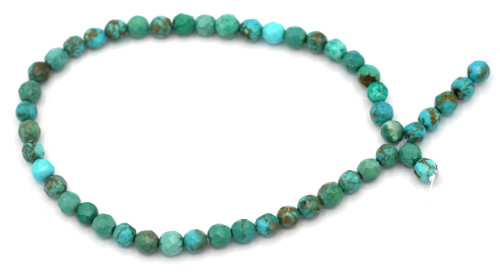 """Approx. 7.5"""" Strand 4mm Faceted Sinkiang Chalk Turquoise Round Beads"""