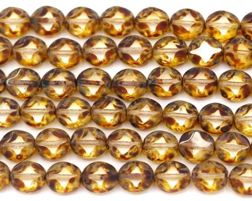12pc 9x8mm Czech Table-Cut Glass Flat Oval Window Bead, Half-Matte Crystal/Picasso