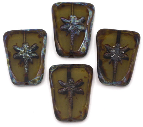 28x20mm Czech Table-Cut Glass Dragonfly Trapezoid Bead, Light Topaz Gray/Vintage Luster