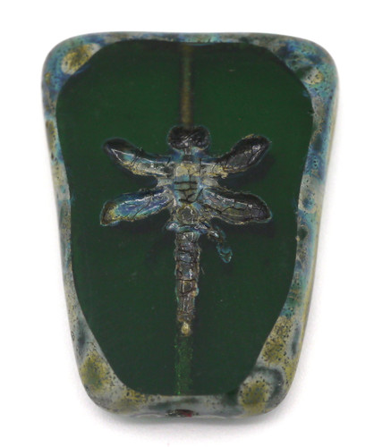 28x20mm Czech Table-Cut Glass Dragonfly Trapezoid Bead, Emerald Green/Vintage Luster
