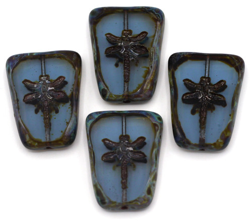 28x20mm Czech Table-Cut Glass Dragonfly Trapezoid Bead, Light Sapphire/Vintage Luster