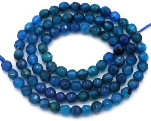 """Approx. 14"""" Strand 4mm Faceted Agate Round Beads, Marine Blue"""