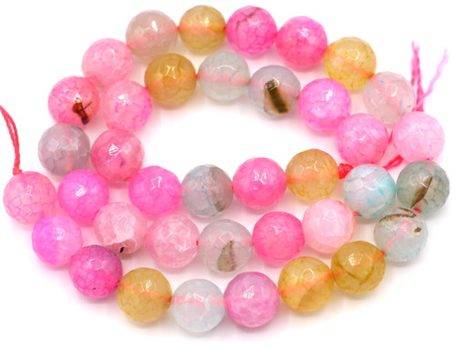 """Approx. 14"""" Strand 8mm Faceted Dragon Veins Agate Round Bead, Pastel Multi Mix"""