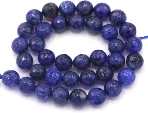 """Approx. 14"""" Strand 10mm Faceted Dragon Veins Agate Round Bead, Indigo"""