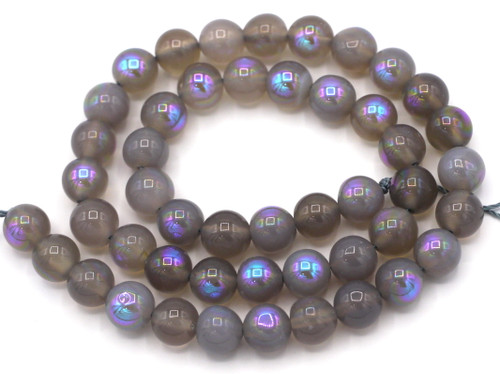 """14"""" Strand 8mm Gray Agate Electroplated AB Round Beads"""