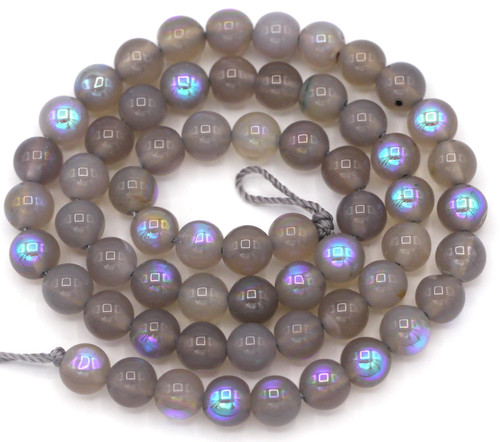 """14"""" Strand 6mm Gray Agate Electroplated AB Round Beads"""