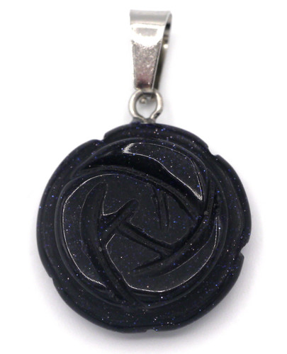 Approx. 23x20mm Blue Goldstone (Man-Made) Carved Rose Pendant
